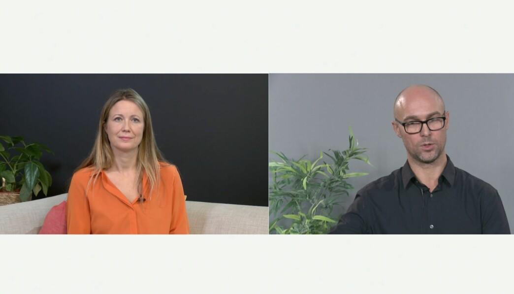 Programleder Therese Manus stiller Eirik Jagmann i Oslo Kommune spørsmål fra publikum på seminaret.