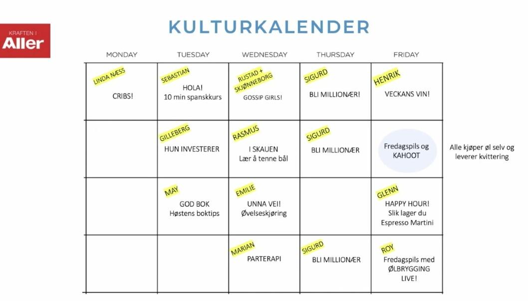 Eksempel på hva kalenderen inneholdt første uke med konseptet.