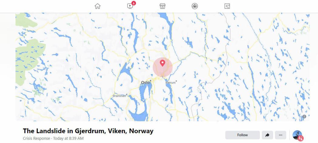 Facebook aktiverte krisefunksjonen da leirraset gikk i Gjerdrum