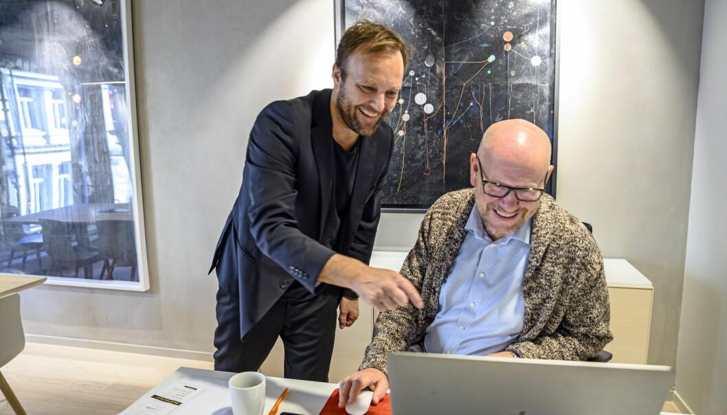 Daglig leder Sindre Beyer i TRY Råd (til venstre) og styreleder og reklamenestor Kjetil Try.
