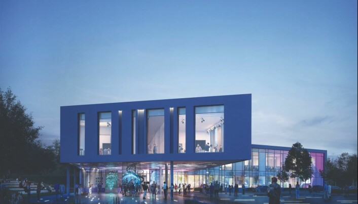 Slik skal det nye mediebygget ved Høgskulen i Volda se ut når det står ferdig i 2021, noe den nye dekanen ved avdelingen for mediefag vil som ansvar å flytte inn i.