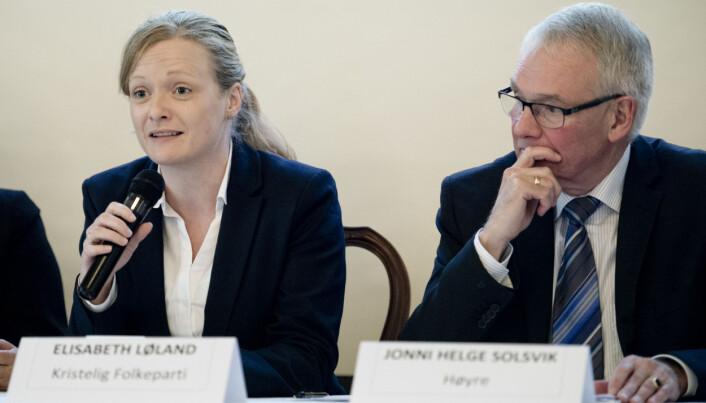 Elisabeth Løland har en fortid som politiker for KrF. Her debatterer hun vernepliktutvalgets rapport i 2015.