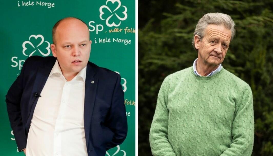 Sp-leder Trygve Slagvold Vedum og Hans Geelmuyden møttes onsdag kveld til debatt i Dagsnytt 18.
