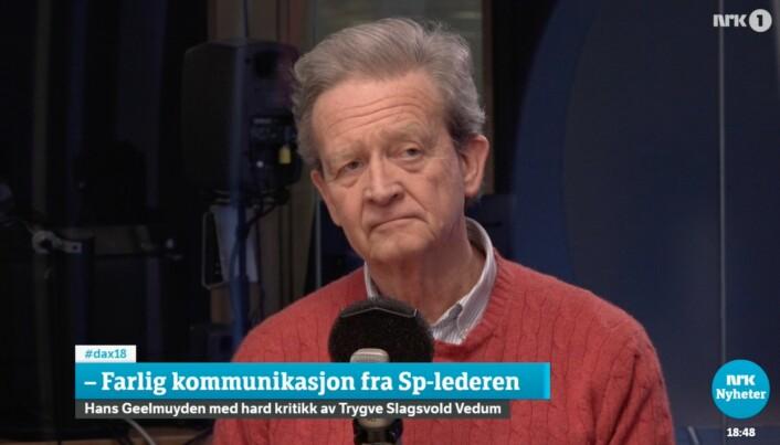 Hans Geelmuyden mener Sp-lederens kommunikasjon er farlig.