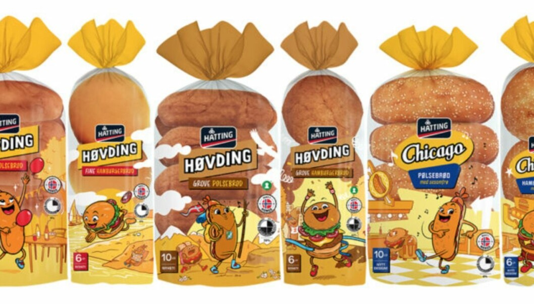 Familieserien Høvding hamburger- og pølsebrød har fått et mer lekent design - og den tidligere høvdinglogoen er byttet ut.