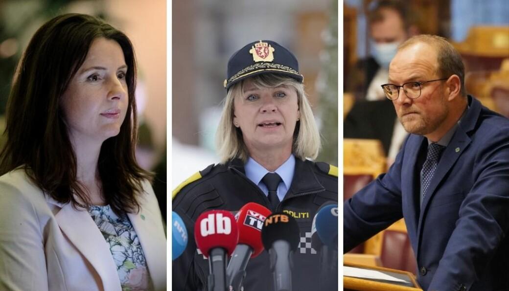 Jenny Klinge (t.v) og Ole Andrè Myhrvold mener det er feil prioritering av politimester Ida Øystese å bruke penger på kommunikasjonsrådgivere i stedet for etterforskere.