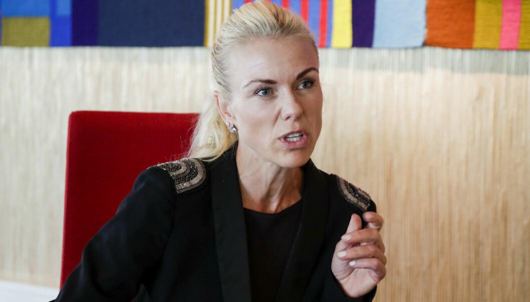 Kommuneoverlege i Nordre Follo, Kerstin Anine Johnsen Myhrvold, under pressekonferanse om koronasituasjonen på Rådhuset på Kolbotn. Foto: Vidar Ruud / NTB