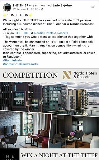 Hotellet The Thief krever at kandidatene som melder seg på konkurransen må tagge en annen i kommentarfeltet for å delta. Det er ikke innafor Facebooks regler for konkurranser.