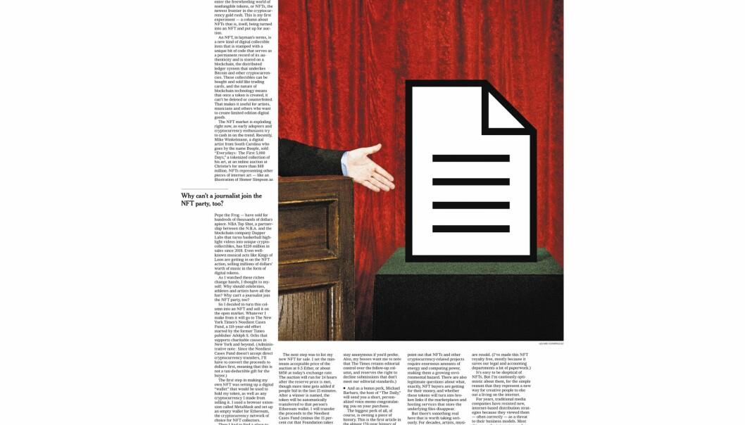 En avisartikkel fra The New York Times ble torsdag solgt for nesten fem millioner kroner på NFT-markedsplassen Foundation.