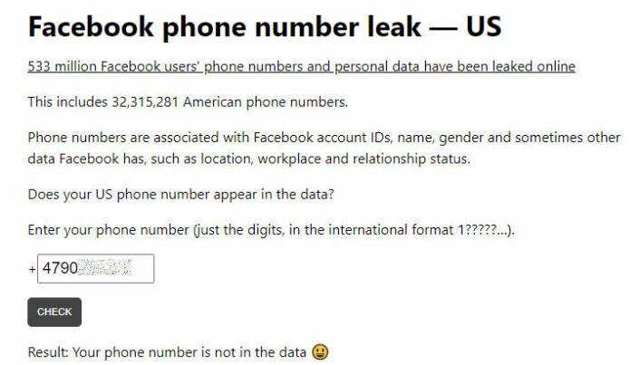 Det er allerede laget en annen tjeneste som lar deg søke på telefonnummeret ditt for å sjekke om du er rammet