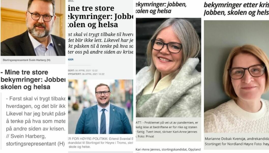 Det var mye felles tankevirksomhet i Høyre i påsken, kan det se ut som, på disse leserinnleggene.