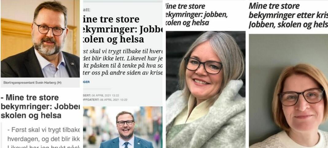 Felles uro i Høyre: Solgte inn likelydende leserbrev til aviser, framstilte de som unike leserbrev fra lokale kandidater