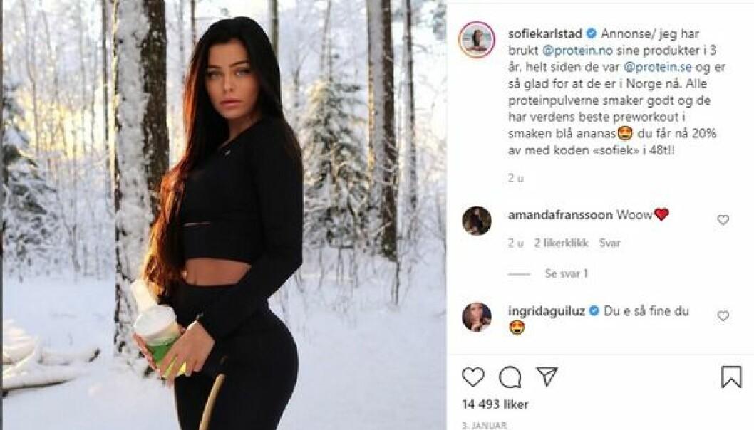 Felte Sofie Karlstad for å ha for mange lettkledde bilder på Instagram. FIM: – Vi er ikke noe smakspoliti