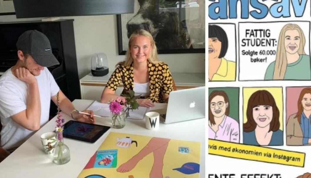 Christian og Cecilie Wehus legger ut eget design på Instagram. Nå har de kommentert Finansavisens mannetunge forsider