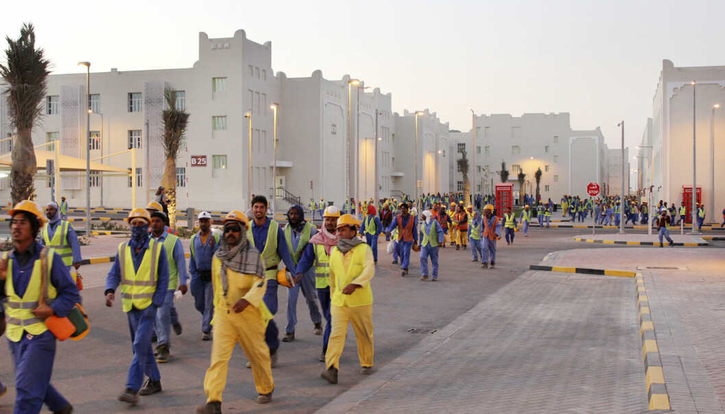 Labor City i Doha huser 70.000 arbeidere. Bildet er tatt under en omvisning i forbindelse med AIPS-kongressen i 2016. Foto: Magnus Aabech / NTB