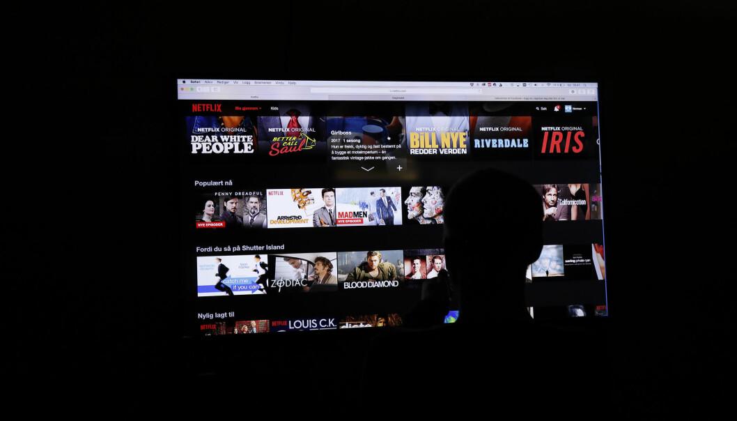 Strømmetjensten Netflix på en tv skjerm Foto: Terje Bendiksby / NTB