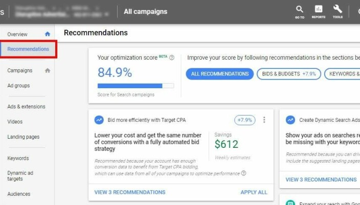 Bildet viser Googles anbefalingsside. Vurderer man å bruke automatiseringen på sin konto, er det lurt å begynne å følge med på anbefalingene til google, og selv bestemme om de er gode eller ikke.