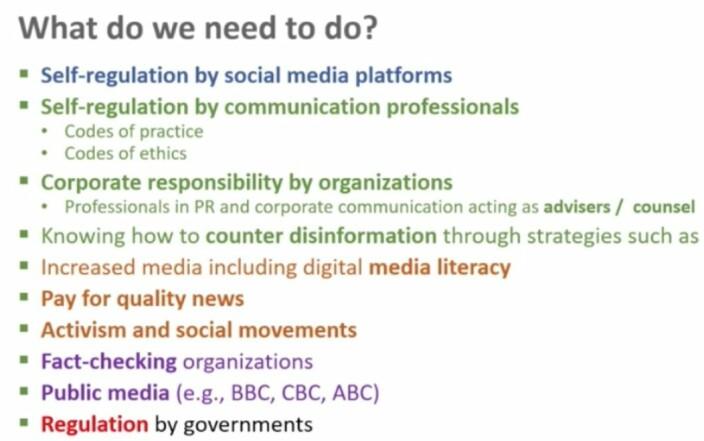 Macnamaras til forslag til hva samfunnet kan gjøre i kampen mot desinformasjon. Punktene i grønt er rettet mot kommunikasjonsbransjen.
