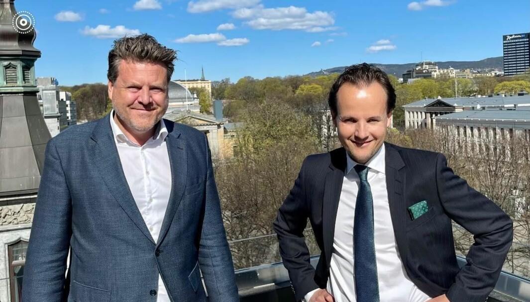 Managing partner Petter Meyer i rekrutteringsselskapet Meyerhaugen, sammen med ny partner Henrik Andersson.