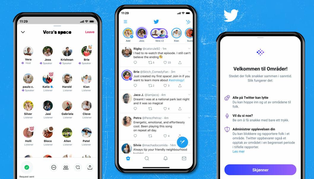 I en pressemelding på mandag annonserte Twitter at Spaces, eller Områder som det kalles på norsk, blir tilgjengelig for alle med 600 eller flere følgere.