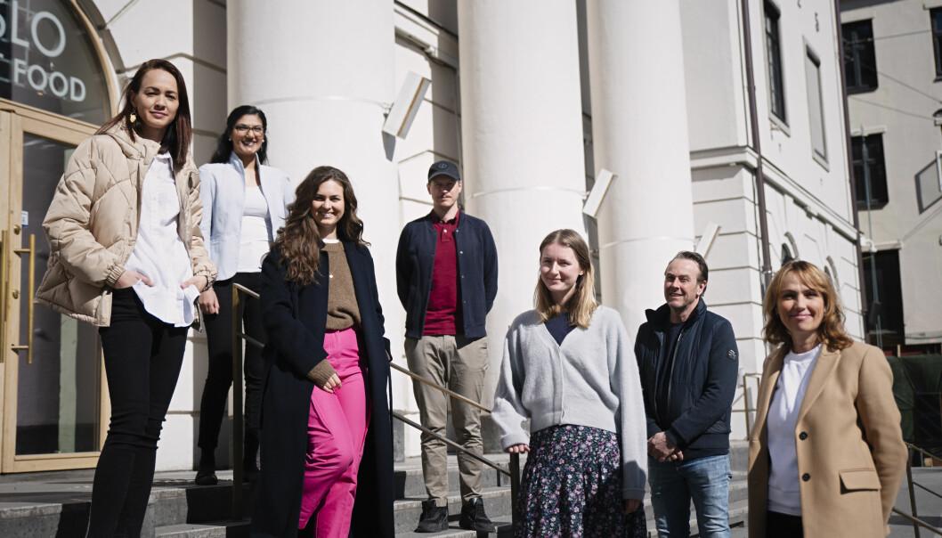 Bjørknes og NKI velger SMFB som nytt byrå. Fra venstre: Belinda Jensen, Yasmin Bhatti, Viktoria Hansson, Linus Hjellström, Pia Ølstad, Lasse Polmar og Cecilie Bryner.