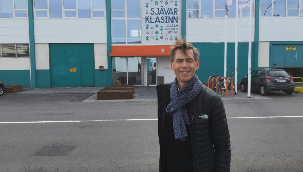 Nofimas kommunikasjonsdirektr Morgan Lillegrd utenfor Ocean Cluster House i Reykjavik, Island.