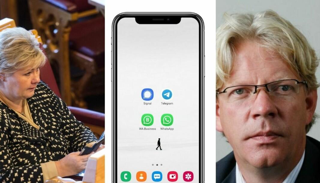 Statssekretør Rune Alstadsæter stadfestar at det vert brukt app-ar som Signal, som kan sletta meldingar automatisk.