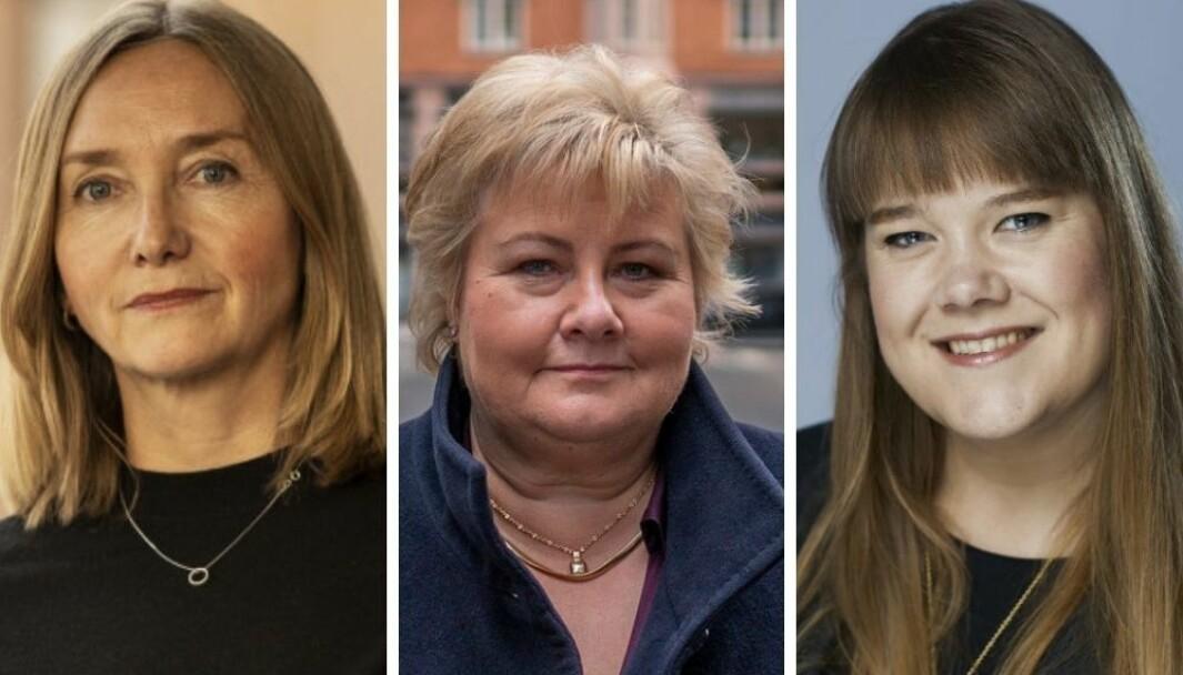 Trigger-sjef Bente Kvam Kristoffersen, statsminister Erna Solberg og byråsjef i Mannheimer, Lene Bergmann.