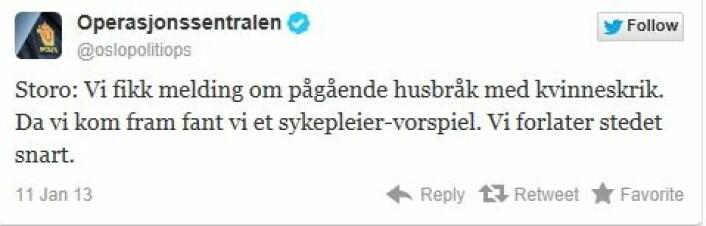 En av mange humoristiske tweets