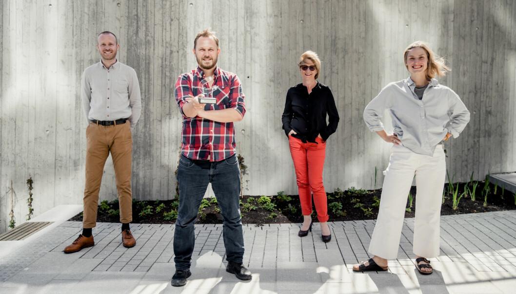 Kommunikasjonsteamet bak ingenørd-kampanjen, fra venstre Kristoffer Jakobsen, Ole Emil Johnsen, May Kristin Haugen og Ragnhild Heggem Fagerheim.