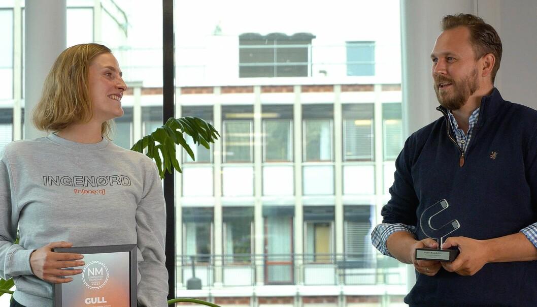 Ragnhild Heggem Fagerheim og Ole Emil Johnsen fra COWIs kommunikasjonsteam tok i mot prisen for «årets kampanje overfor erfarne» under Magnet Awards tirsdag 08.juni 2021.