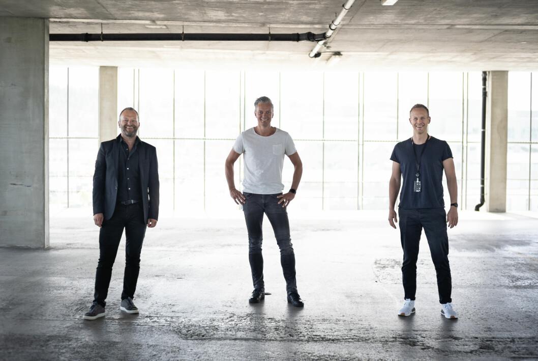 Bjarne Uldal (f.v.), Are Sleveland (partnere i Hey Ho Let´s Go), og Øyvind Helland (leder for design og nyskaping i Solv AS),danner et nytt design og nyskapningsteam i Solv.