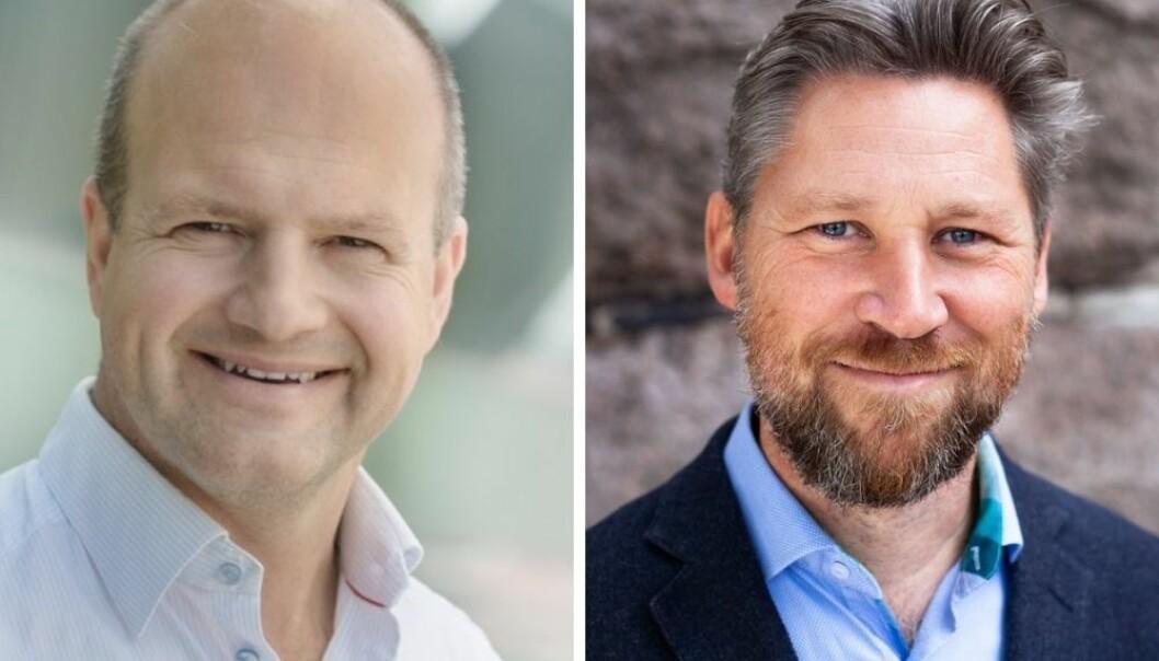 Spill- og teknologiselskapet kjøper Strossle. Fv. Patrik Fagerlund og Håkon Tillier.