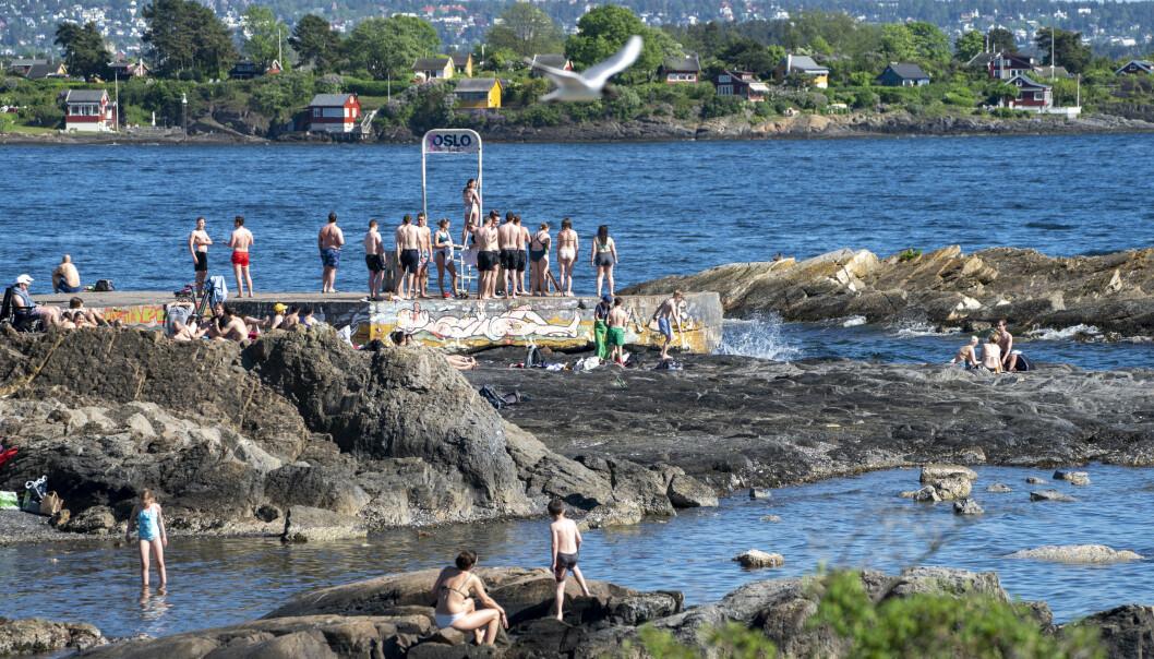 Hovedstadens innbyggere trekker til sjø og vann og koser seg i varmen. På Bygdøy var det mye mennesker.Foto: Terje Pedersen / NTB