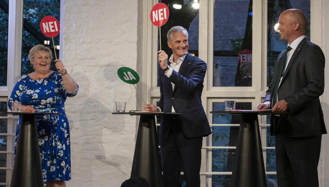 OSLO 20210809. Statsministerdebatt på VGTV med Sp-leder Trygve Slagsvold Vedum (f.h.), Ap-leder Jonas Gahr Støre og statsminister Erna Solberg (H)Foto: Berit Roald / NTB