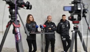 Daglig leder Vibeke Johannesen, sportslig leder Jimmi Nagel Jacobsen og hovedtrener Eirik Horneland møtte pressen etter et nachspiel på Brann stadion