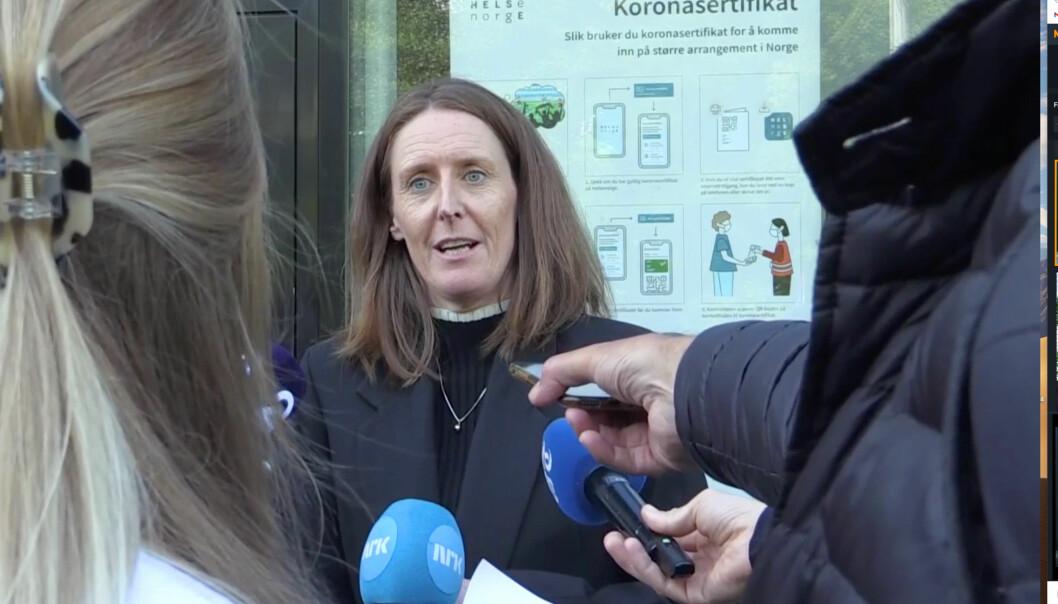 Daglig leder Vibeke Johannesen møtte pressen for en kort orientering etter et styremøte i forbindelse med det etterhvert så mye omtalte nachspielet på Brann stadion.