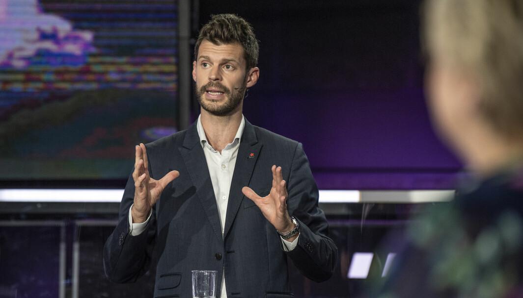 Rødts partileder Bjørnar Moxnes under partilederdebatten på TV2 31. august 2021..Foto: Marit Hommedal / NTB