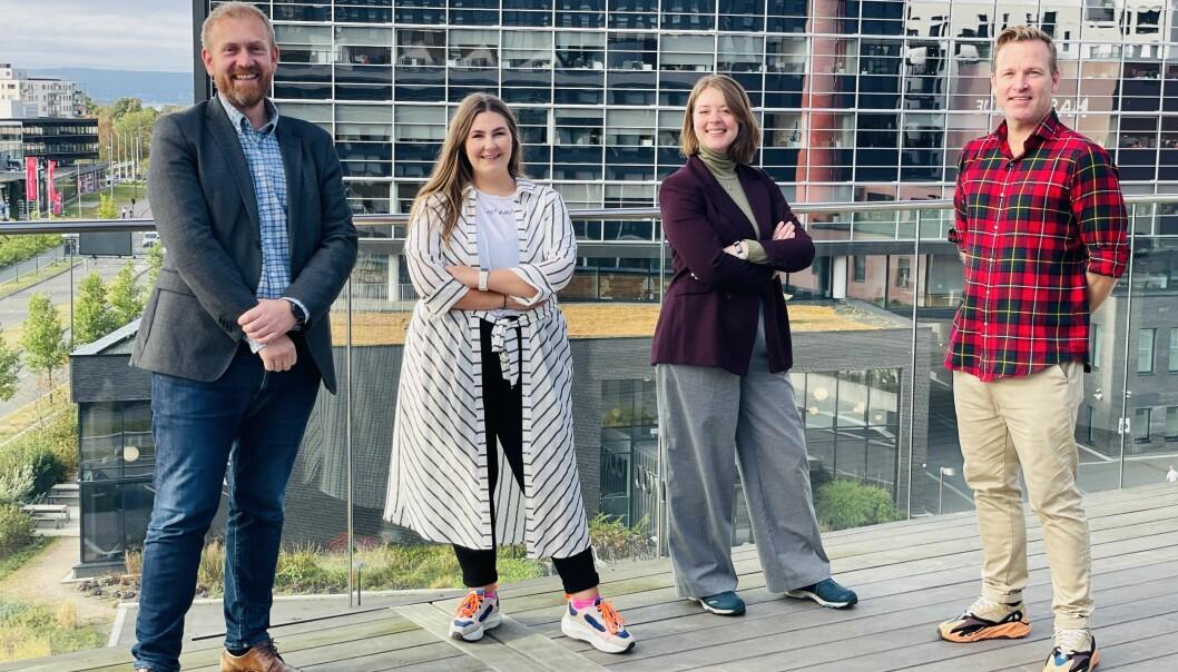 – Den nye trioen representerer den nødvendige bredden som skal til for vår omfattende kundeportefølje, sier Espen Hermansen som er daglig leder i Nova Vista. Fra venstre: Espen Hermansen, Silje Bekkelund, Helena Bosdal og Chris Welsh.