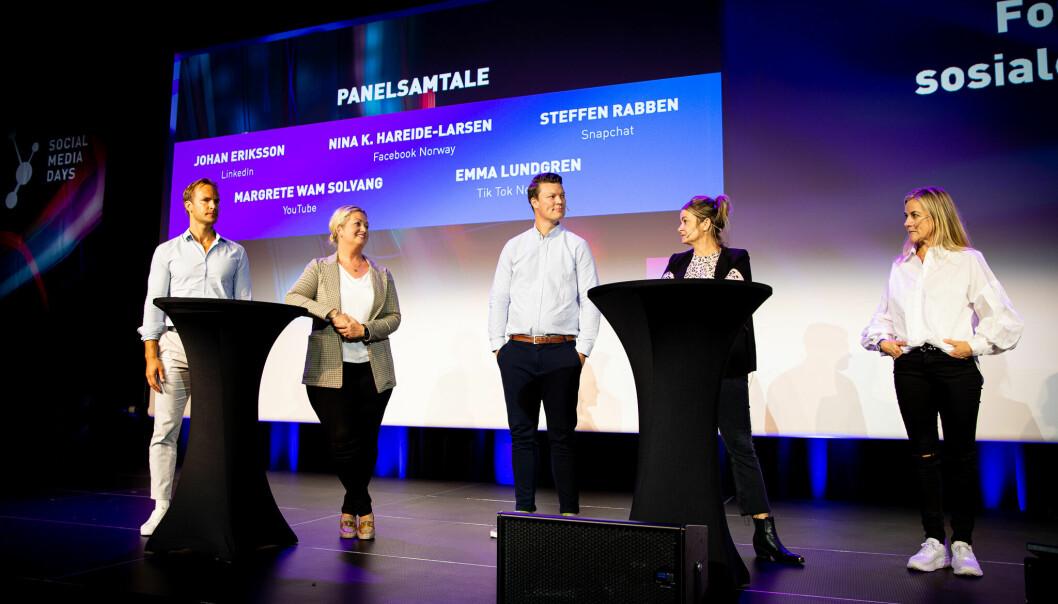 Johan Erikson, Linkedin. Nina K. Hareide-Larsen, Facebook Norge. Steffen Rabben, SnapChat. Emma Lundgren, TikTok Nordics, Margrethe Wam Solvang, YouTube.