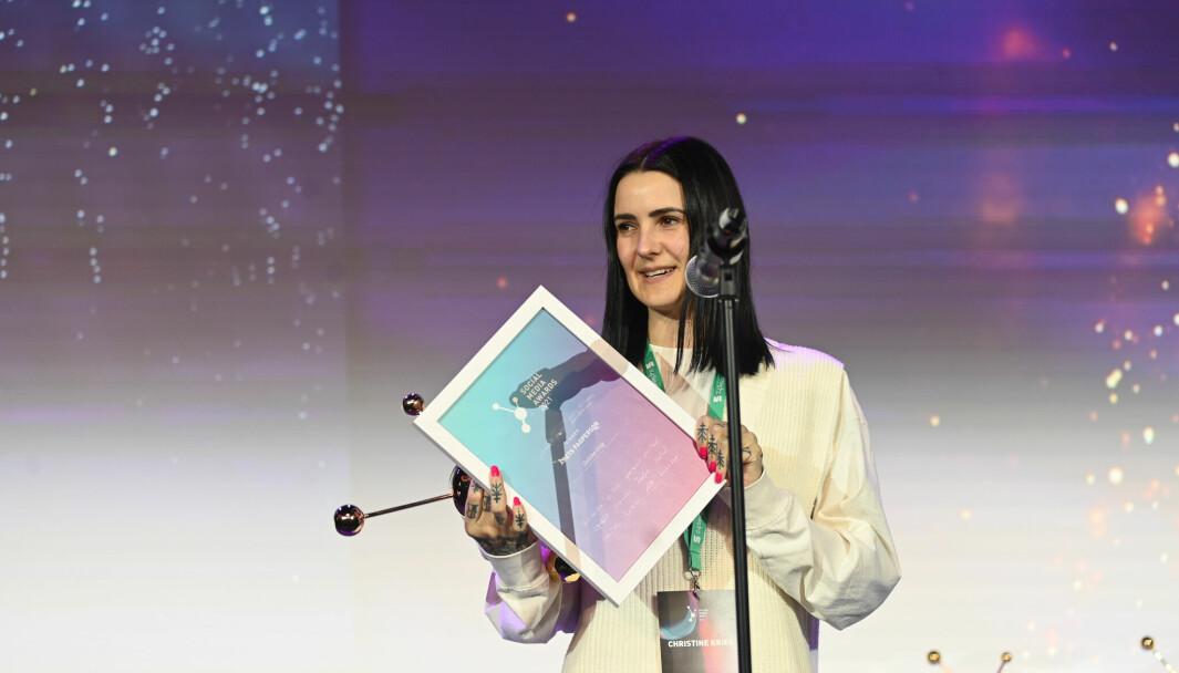 Christine Krieg vant pris under årets Social Media Awards 2021.