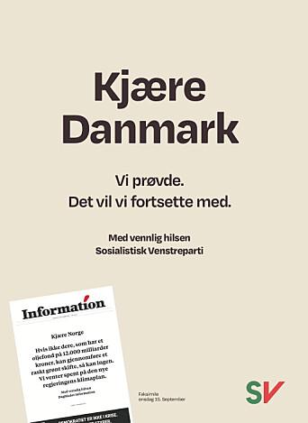 Slik ser annonsen i mandagens avis ut.