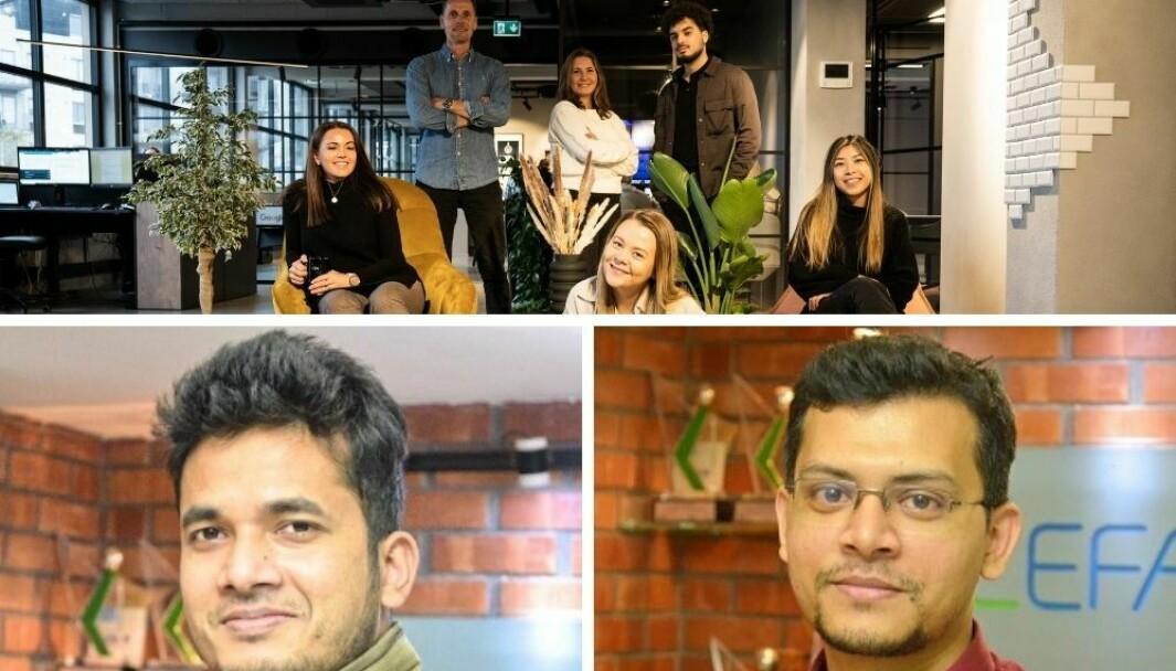 A2Ns nyansatte i Oslo (f.v) Lisa Skovdahl, Thomas Langseth (daglig leder), Eileen MC Cready, Melissa Reisersen Tørring, Mahdi El Mou og Kim Mu, og byråets nyansatte i Dhaka teamet Adil Hasan og Tushan Kumar Gosh