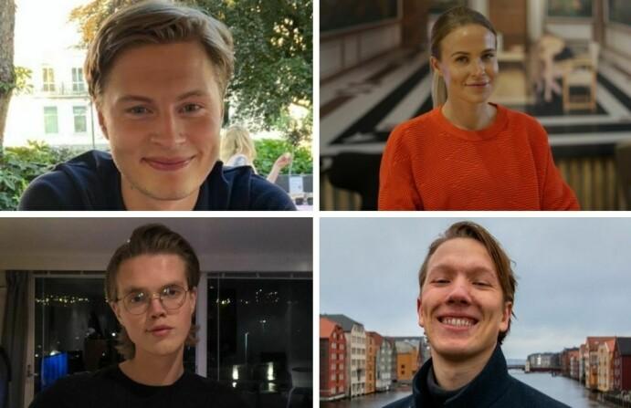Styret i Trondheim studentlag: Kristian August Røstad Tollefsen, Ingvild Benedicte Småge Aursland, William Husby Hoven og Benjamin Bekken. De er alle i gang med en master i medier, kommunikasjon og informasjonsteknologi ved NTNU.