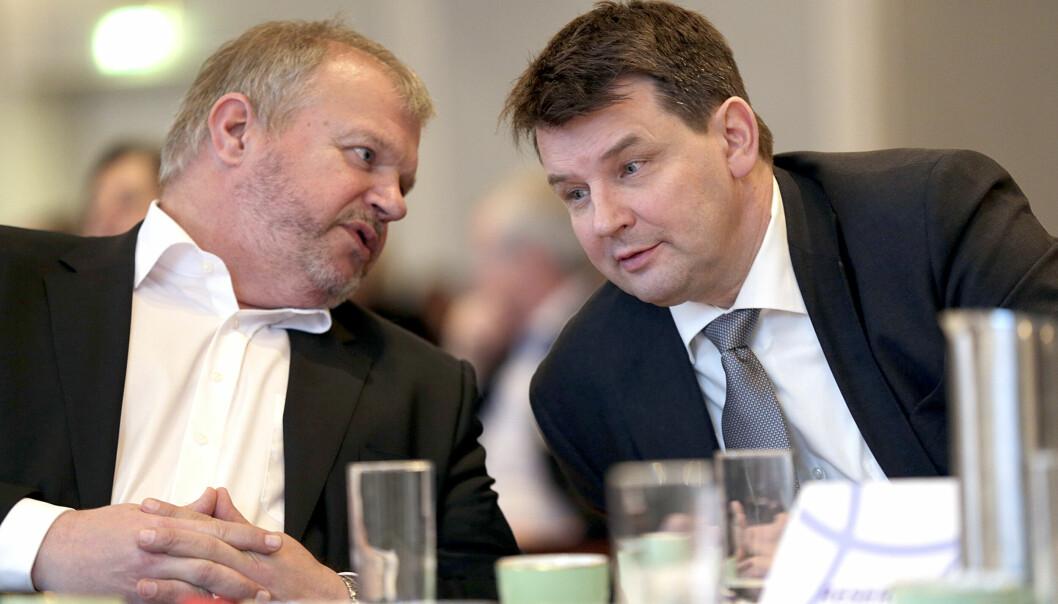 Bjarne Håkon Hanssen og Tor Mikkel Wara i henholdsvis Kruse Larsen og First House skal få vanskeligere arbeidsforhold inn mot det offentlige fremover. Foto: Vidar Ruud / NTB